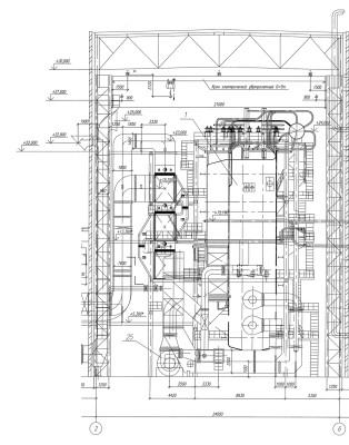 паровой котел Е-160-3,9-440 ГМ разрез