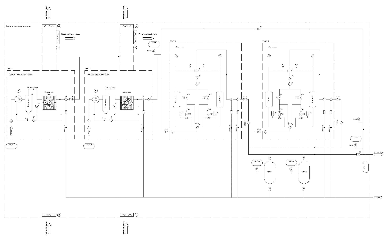 схема воздухоснабжения от компрессорной станции