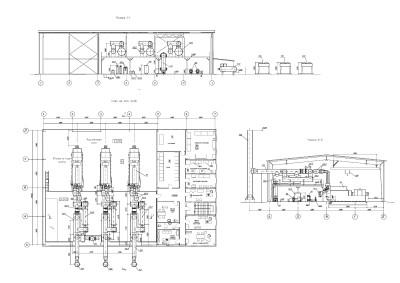 компоновка оборудования газопоршневой электростанции чертеж 2