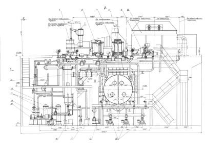 паротурбинная установка П-25-3,4/0,6 чертеж 1