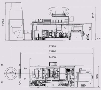 Габаритные размеры ГТУ Siemens SGT-800