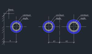 расстояние между трубопроводом и стеной и между трубопроводами в одном ряду